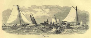 An 1877 drawing of menhaden purse seiners in the Peconic Bay | Courtesy University of Washington Freshwater and Marine Image Bank